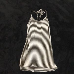Black and white stripped casual dress